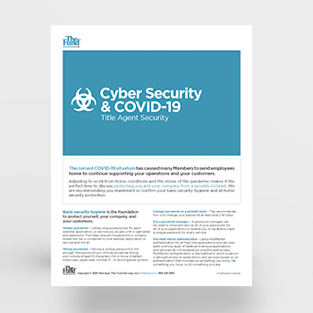 COVID-19 Title Agent Cybersecurity Tips (Download)